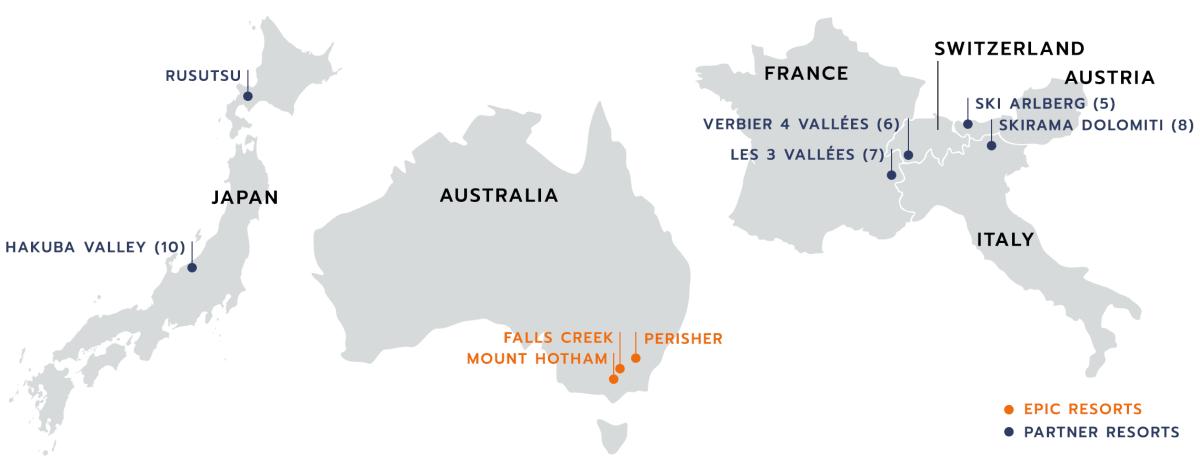 Kaart van alle partner skigebieden van de EPIC pas buiten Canada en Amerika.
