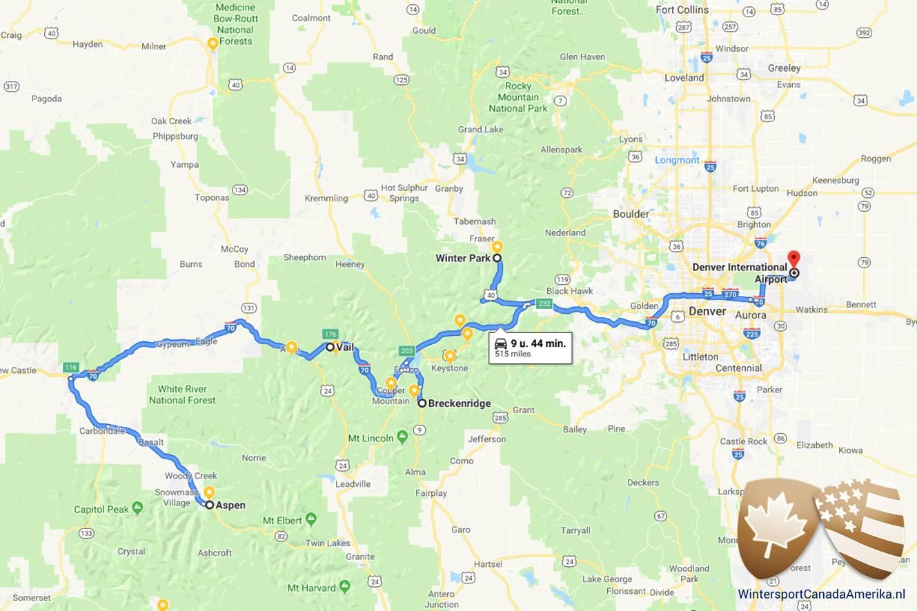 Route van de skisafari Colorado XL waarbij je van Denver naar Winterpark reist en vervolgens Breckenridge, Vail en Aspen aandoet.