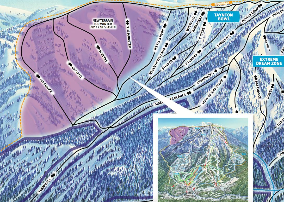 Het skigebied van Panorama in Canada is uitgebreid met de Taynton Bowl met 4 nieuwe double black diamonds.