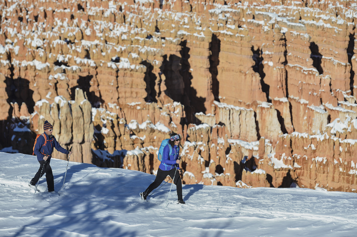 Bryce Canyon Utah in de winter langlauf cross country