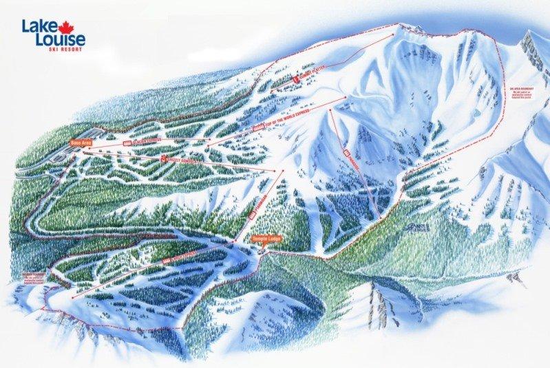 Preview pistekaart skigebied Lake Louise Canada