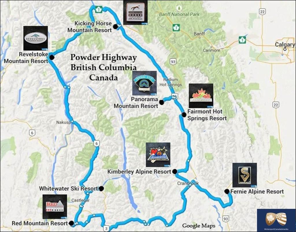 De Powder Highway skigebieden in Canada zijn allen mooie plekken voor een wintersportvakantie met de beste poedersneeuw.