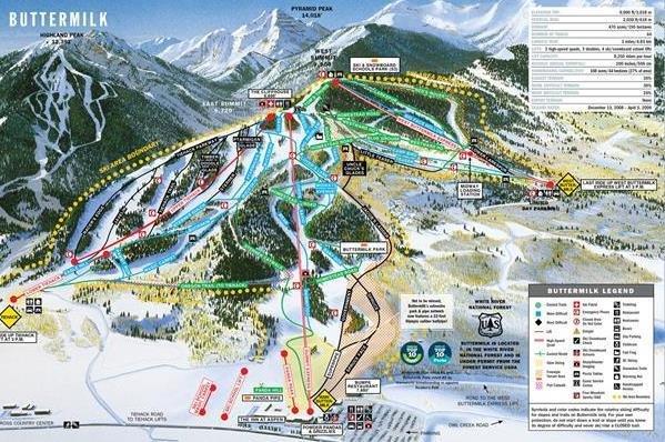 Preview pistekaart skigebied Aspen Amerika