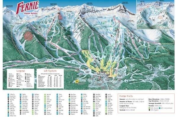 Preview pistekaart skigebied Fernie Canada