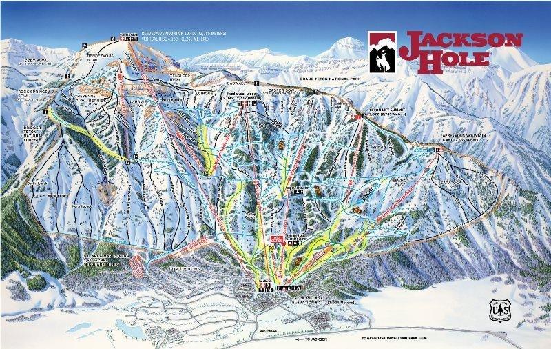 Preview pistekaart skigebied Jackson Hole Amerika