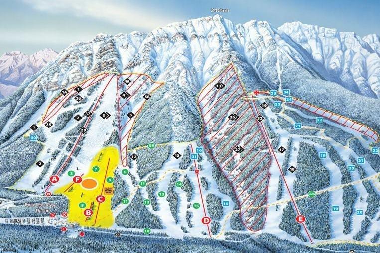 Preview pistekaart skigebied Banff Mt Norquay Canada