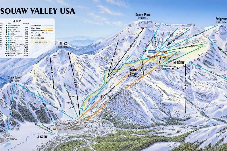 Preview pistekaart skigebied Squaw Valley Amerika