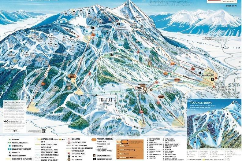 Preview pistekaart skigebied Crested Butte Amerika