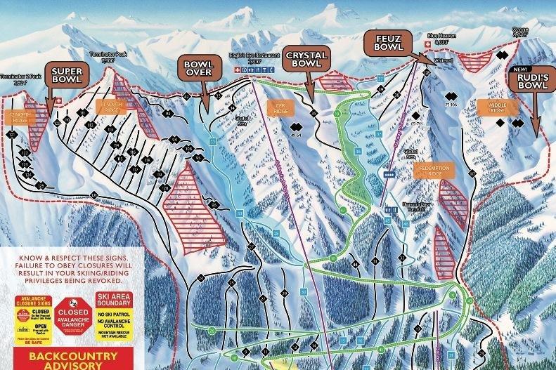 Pistekaart van skigebied Kicking Horse Canada
