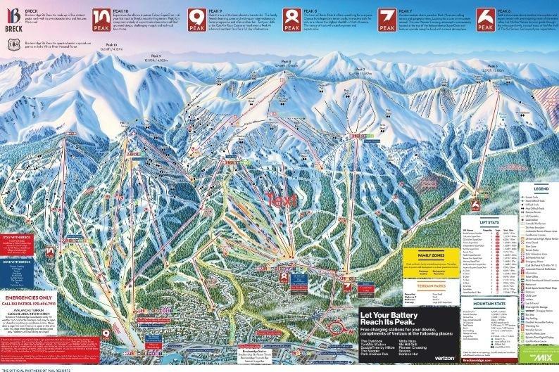 Preview pistekaart skigebied Breckenbridge Amerika