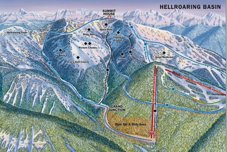 Preview pistekaart skigebied Whitefish Amerika