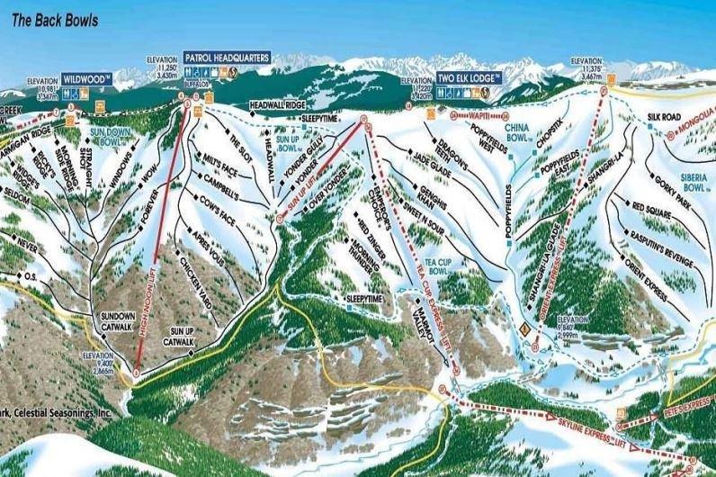 Preview pistekaart skigebied Vail Amerika