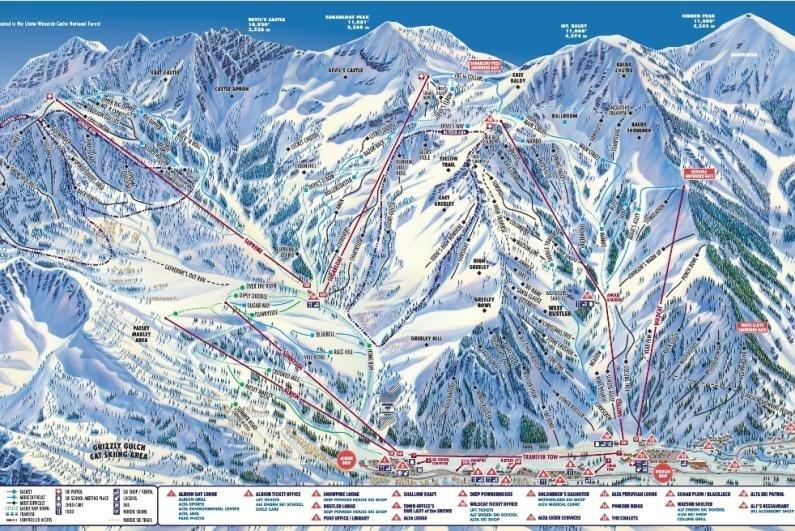 Pistekaart van skigebied  Alta Amerika