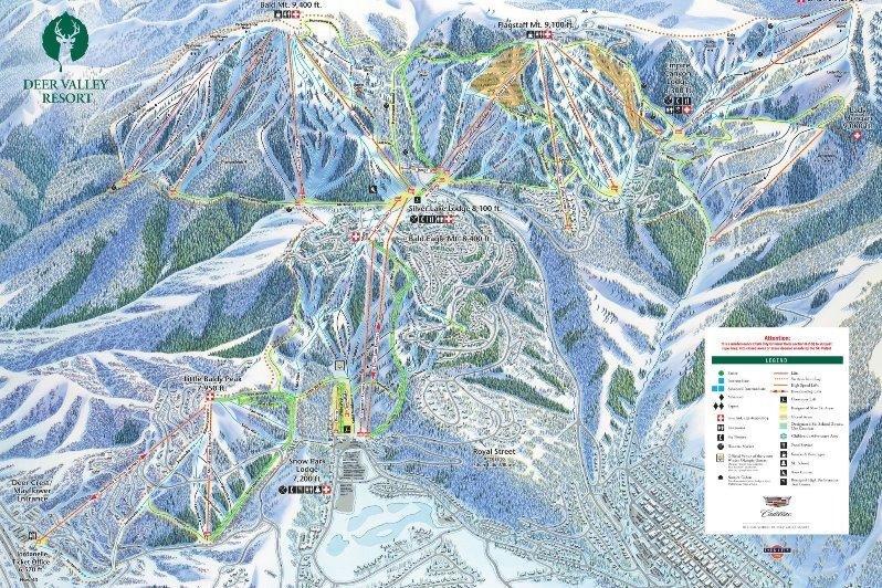 Preview pistekaart skigebied Deer Valley Amerika