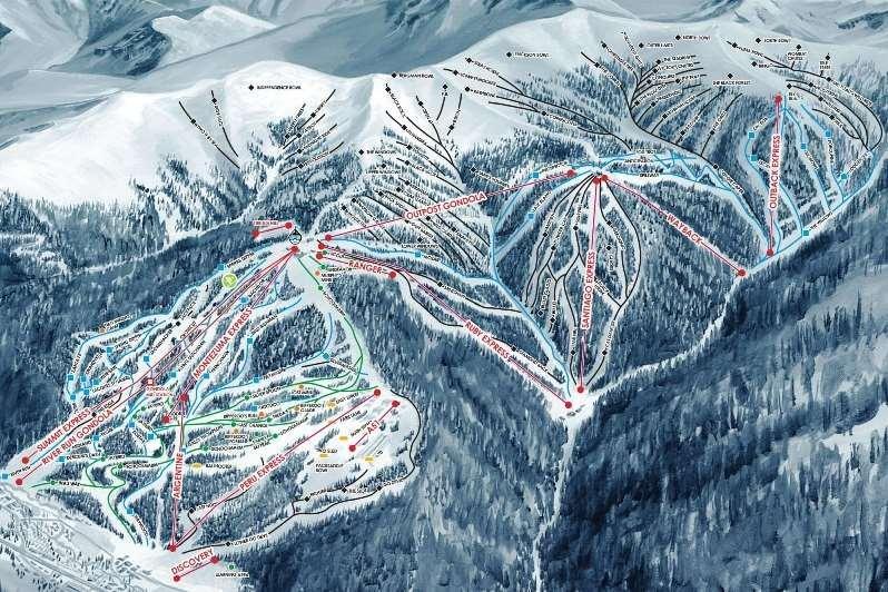 Pistekaart van skigebied Keystone Amerika