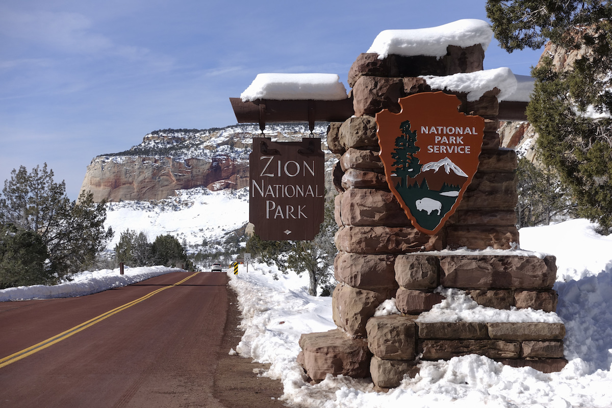 Zion National Park Utah in de winter combi skivakantie