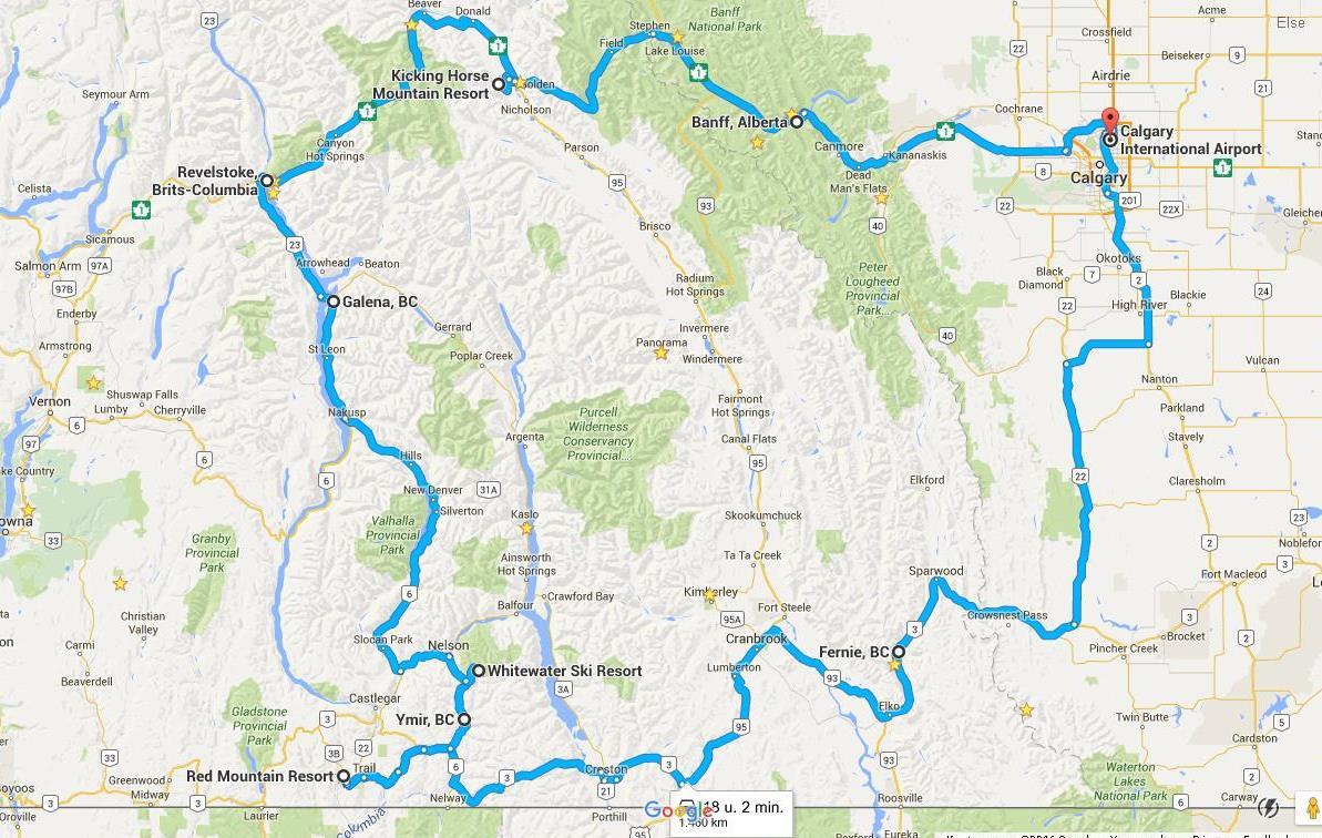 De route van deze prachtige skisafari in Canada is Calgary – Fernie – Ymir – Revelstoke – Kicking Horse – Banff – Calgary
