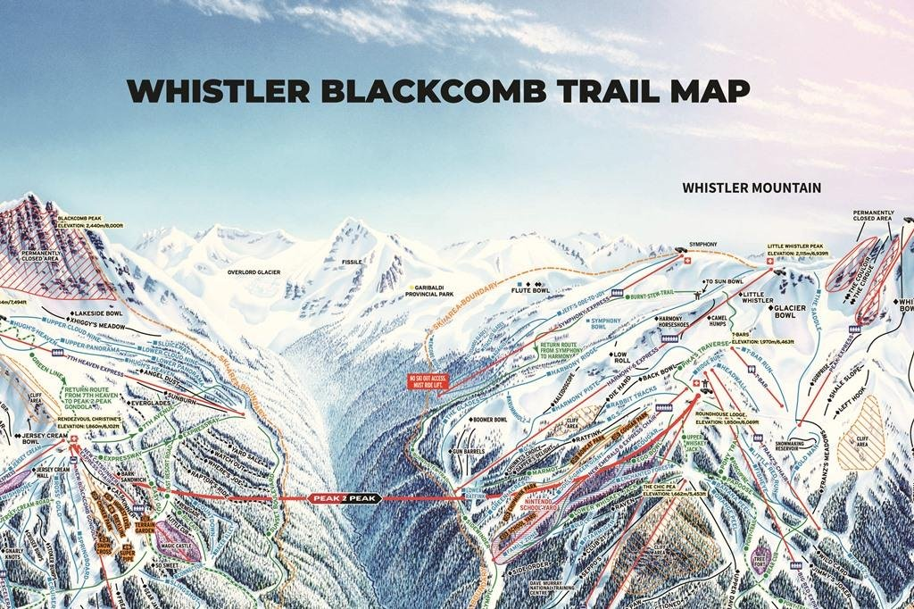 Preview pistekaart skigebied Whistler Blackcomb Canada