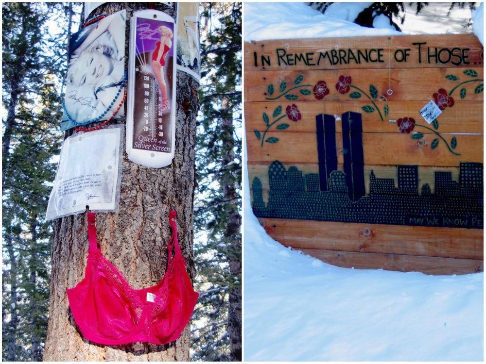 Van foto tot beha: opdat wij niet vergeten. Voor plaatsbeschrijving zie het boekje Sanctuaries in the Snow
