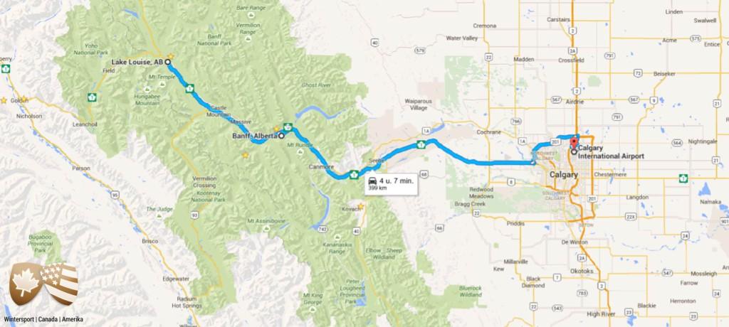 Bekijk de route van de skisafari die je langs het beroemde Banff en Lake Louise voert. Je skiet in 3 skigbieden