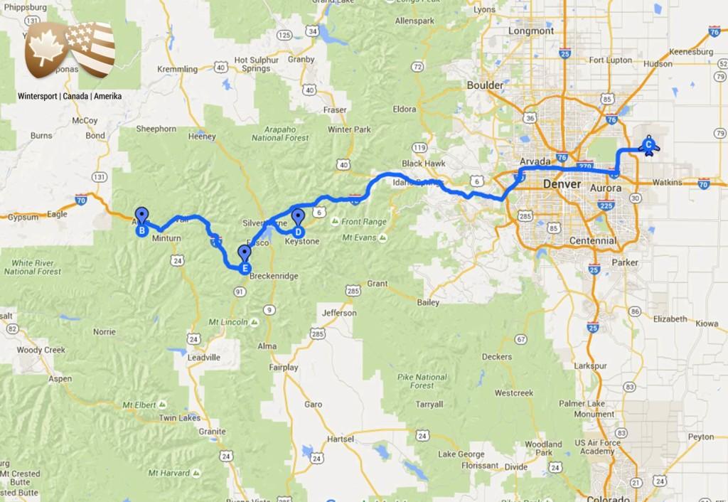 Dit is de route van de skisafari Charmant Colorado waarbij je de bestemmingen Keystone, Beaver Creek en Breckenridge aandoet.