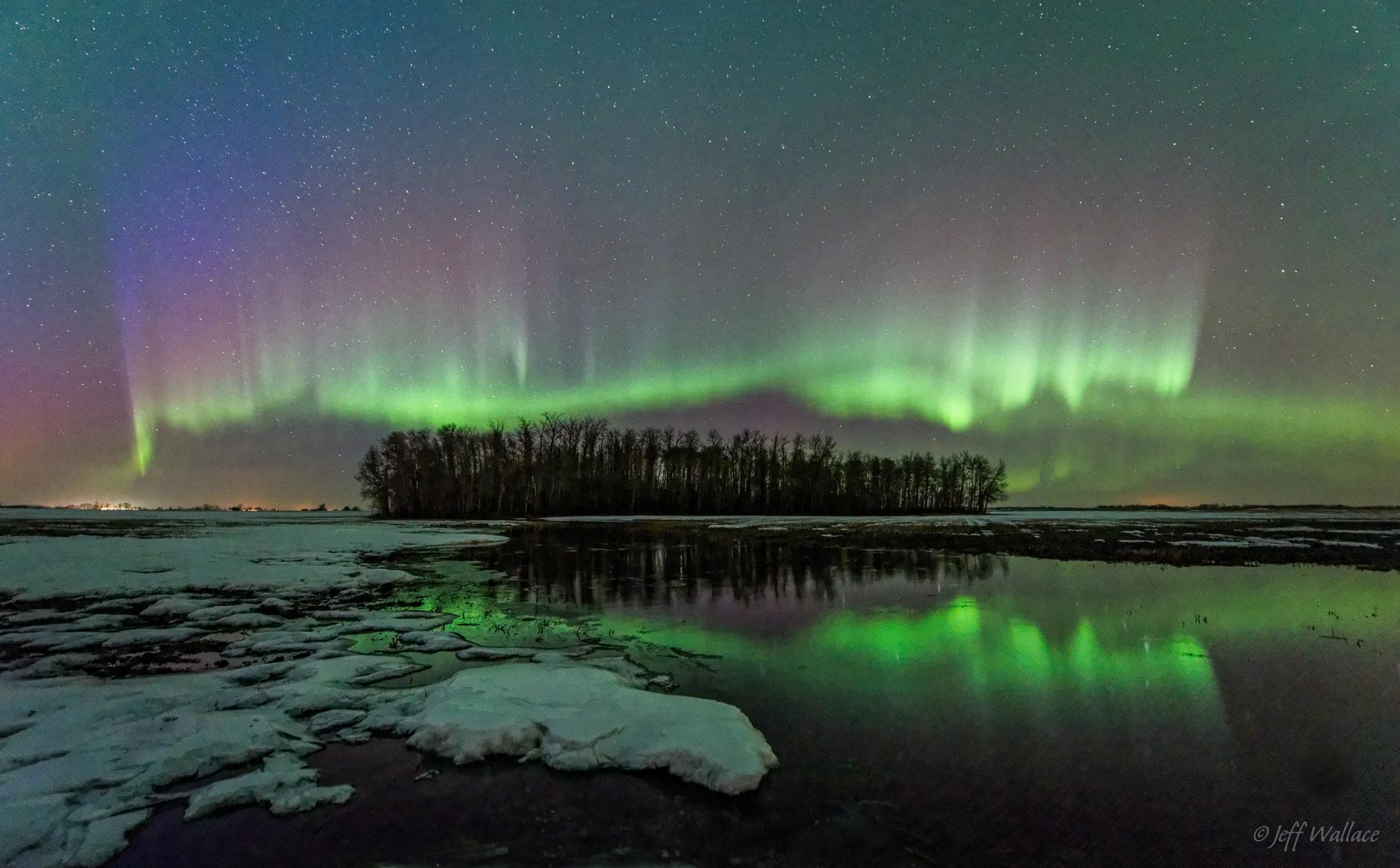 Zodra er meer dan 50% kans is op een aurora-verschijnsel dan krijg je een mailalert. Handig om te hebben als je in Jasper gaat skiën!