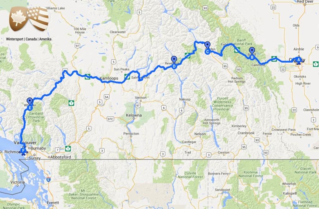 Calgary – Banff – Kicking Horse – Revelstoke – Whistler – Vancouver