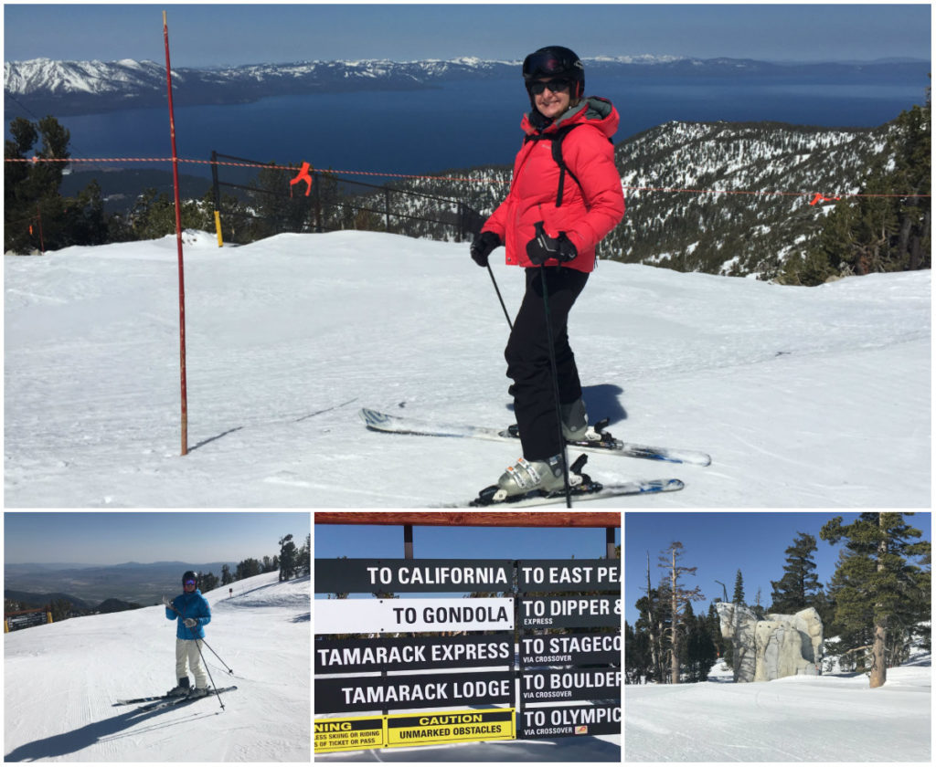Josee van wintersport Canada Amerika heeft de prachtige piste ontdekt in Mammoth Mountain met zicht op Mono Lake In Utah