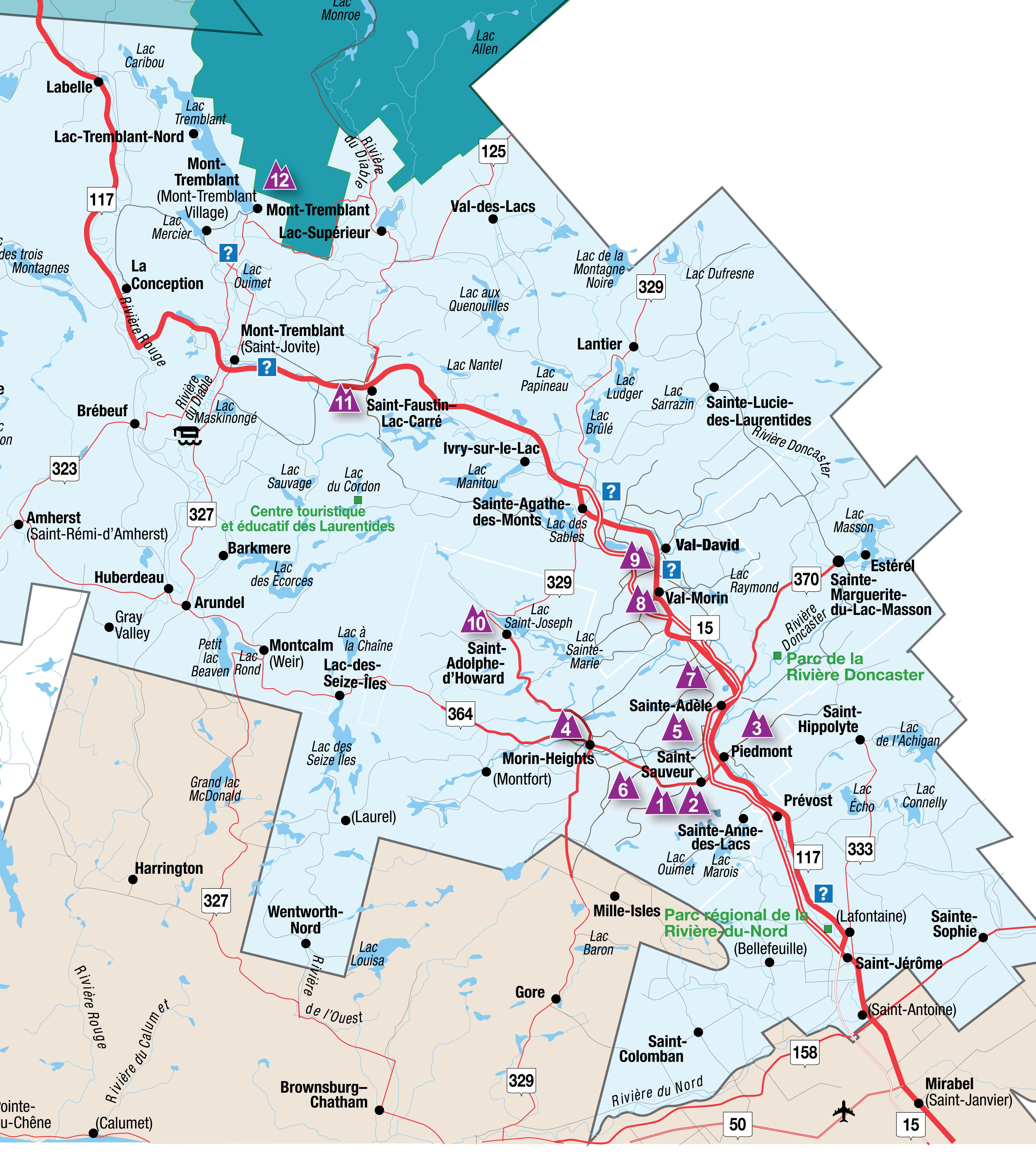 Overzicht van de 12 skigebieden. Totaal 354 pistes waarvan er in de avond velen verlicht zijn.