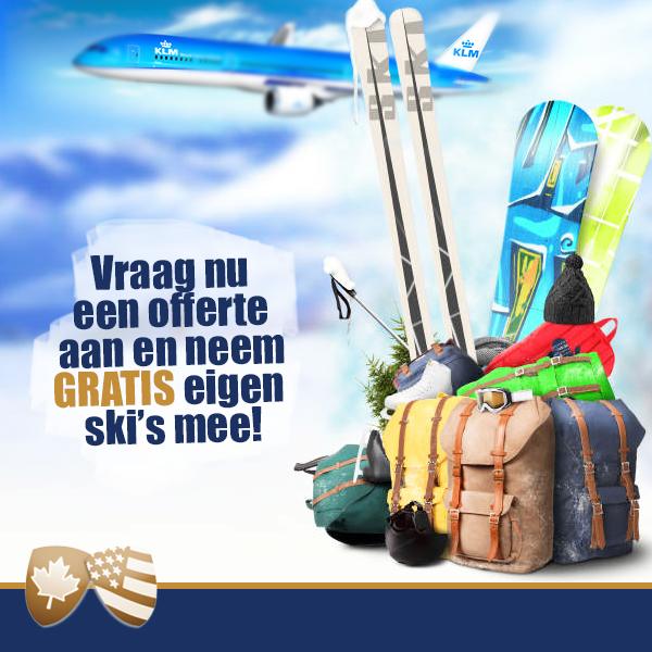 WintersportCanadaAmerika heeft in samenwerking met KLM: Boek een reis naar Jasper Alberta en neem gratis je ski's mee