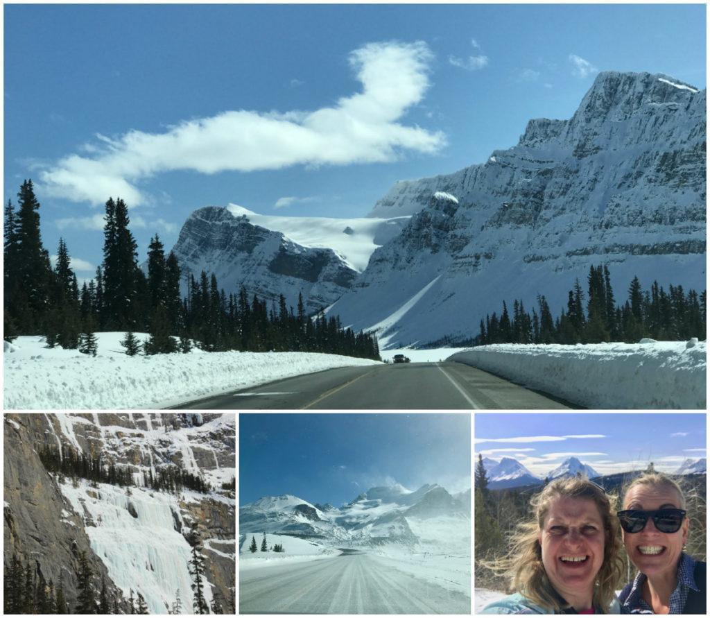 Else van wintersportcanadaamerika reed Icefields Parkway route in Alberta en was onder de druk van de prachtige natuur