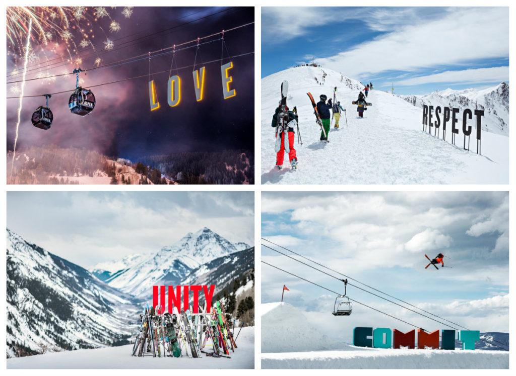 Met de campagne Love, Respect, Unity en Commit stuurt Aspen Skiing Company een mooie maatschappelijke boodschap de wereld in