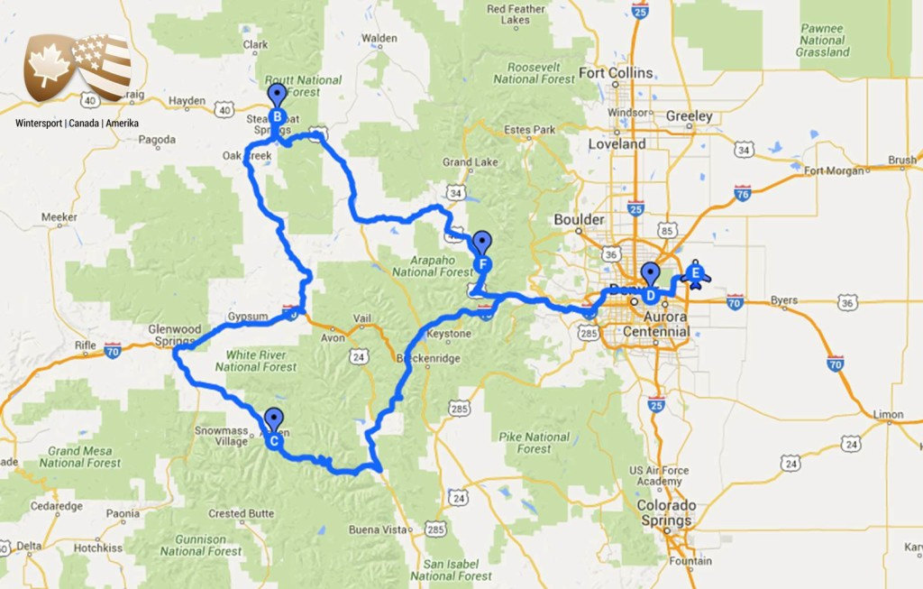De skisafari Colorado Poedersneeuw brengt je naar Denver – Winter Park – Steamboat – Aspen – Denver