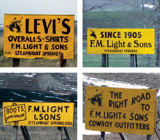 Als je naar Steamboat Springs rijdt, kun je 1 ding niet over het hoofd zien: de felgele borden van de firma F.M. Light & SonsAls je naar Steamboat Springs rijdt, kun je 1 ding niet over het hoofd zien: de felgele borden van de firma F.M. Light & SonsAls je naar Steamboat Springs rijdt, kun je 1 ding niet over het hoofd zien: de felgele borden van de firma F.M. Light & Sons