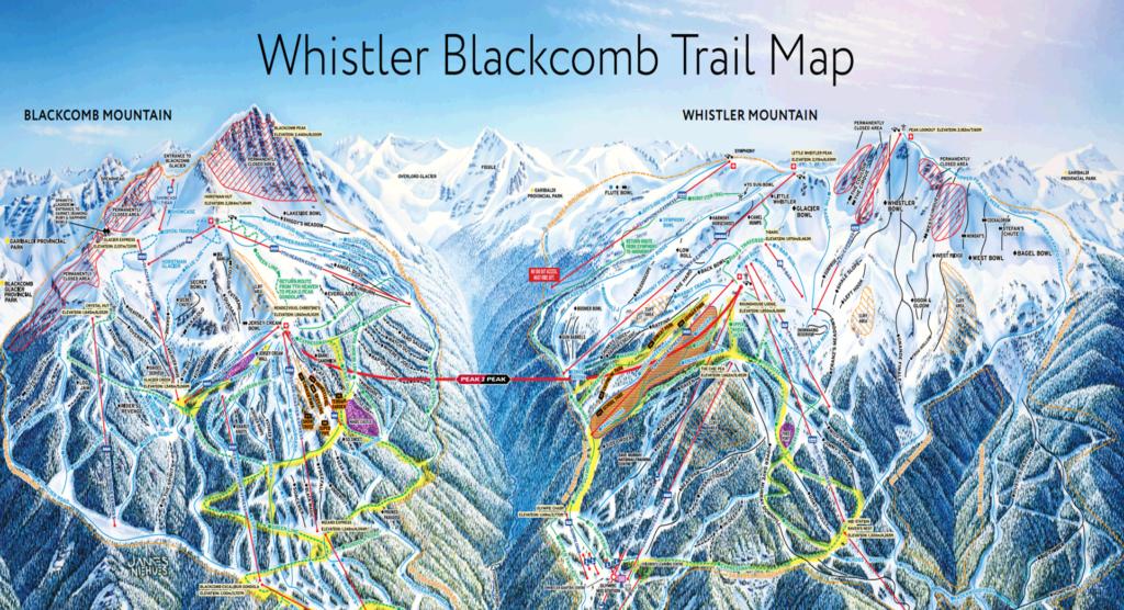 Het skigebied Whistler bestaat uit Whistler Mountain en Whistler Blackcomb,  het grootste wintersport skigebied van Canada