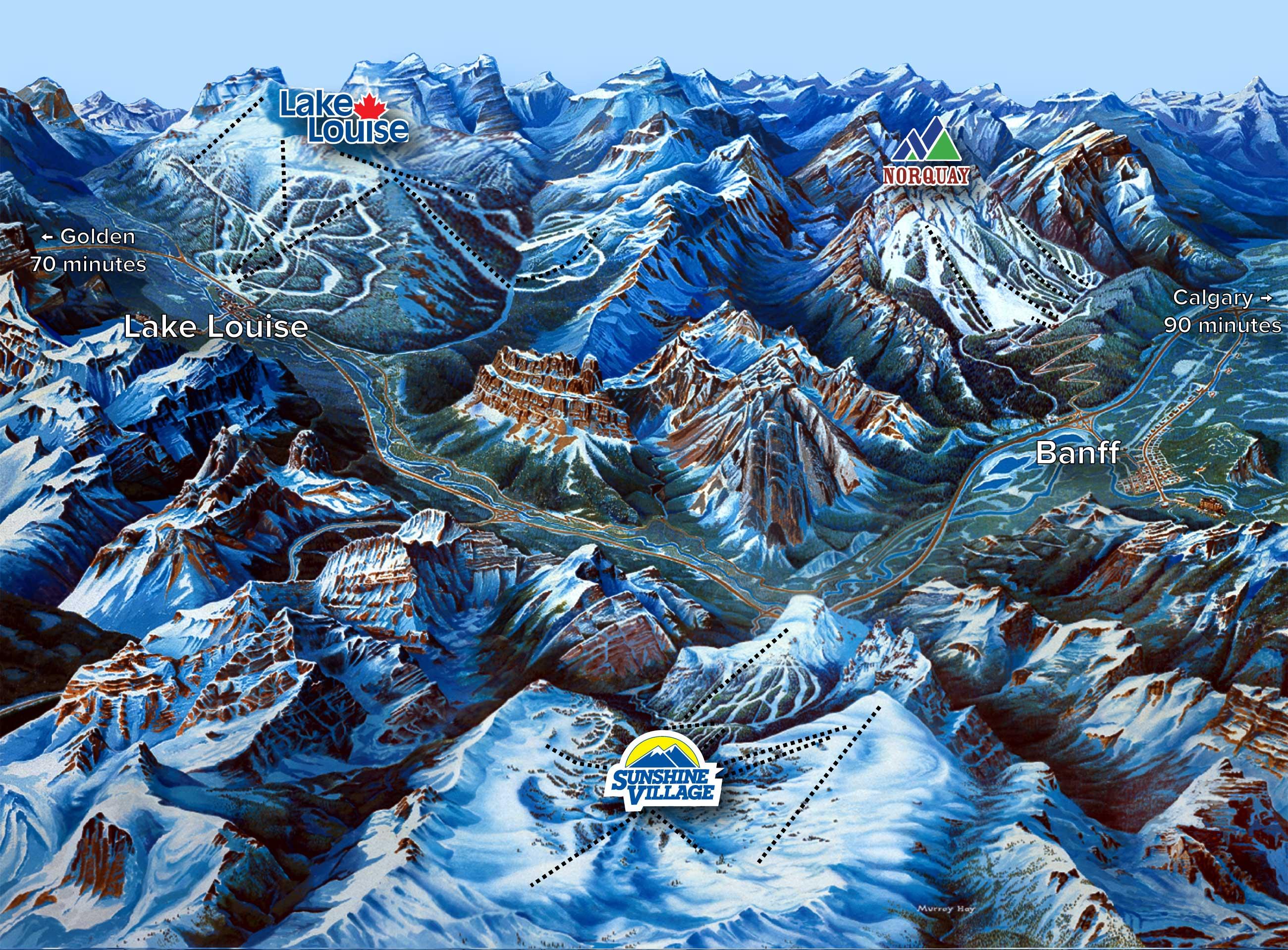 Op korte afstand van elkaar vind je de beide skigebieden van Banff en het skigebied van Lake Louise, een ideale combinatie voor een skisafari in Canada!